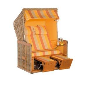 "Sonnenpartner Strandkorb ""Konsul"" 2-Sitzer, Halblieger, Geflecht Naturoptik, Markisenstoff Dessin 67 und uni mandarin"
