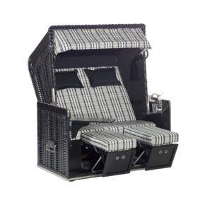 """Sonnenpartner Strandkorb """"Konsul"""", XL-2-Sitzer, Polyrattan schwarz, Gartenmöbelstoff Modena schwarz mit Markisenstoff uni schwarz"""