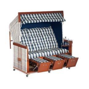 """Sonnenpartner """"Präsident"""" Strandkorb, 3-Sitzer, PE-Kunststoffgeflecht antik-weiß, Gartenmöbelstoff Kent blau, Innenstoff Markisenstoff uni blau"""