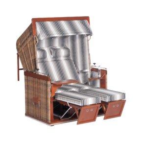 "Sonnenpartner ""Präsident"" Strandkorb, 2-Sitzer, PE-Kunststoffgeflecht marone, Markisenstoff Dessin 172"