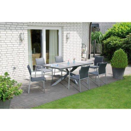 """SonnenPartner """"West"""" Stapelsessel, Gestell Aluminium silber, Sitzfläche Textilen anthrazit"""