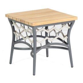 """SonnenPartner """"Yale"""" Beistelltisch, Gestell Aluminium, Polyrope-Geflecht silbergrau, Tischplatte Teakholz"""