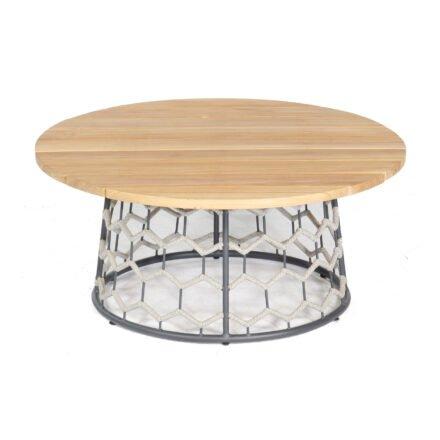 """SonnenPartner """"Yale"""" Loungetisch, Gestell Aluminium, Polyrope-Geflecht silbergrau, Tischplatte Teakholz"""