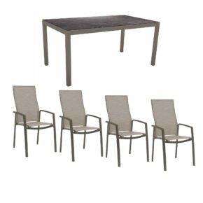 """Stern Gartenmöbel-Set mit Hochlehner """"Kari"""", Textilen kaschmir und Gartentisch 160x90 cm, Gestelle Alu taupe, Tischplatte HPL Vintage grau"""