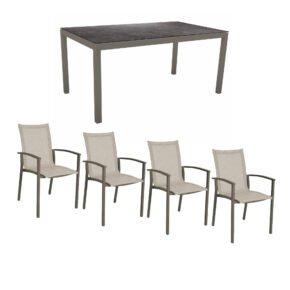 """Stern Gartenmöbel-Set mit Stapelstuhl """"Evoee"""", Textilen kaschmir und Gartentisch 160x90 cm, Gestelle Alu taupe, Tischplatte HPL Vintage grau"""