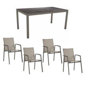 """Stern Gartenmöbel-Set mit Stapelstuhl """"New Top"""", Textilen kaschmir und Gartentisch 160x90 cm, Gestelle Alu taupe, Tischplatte HPL Vintage grau"""