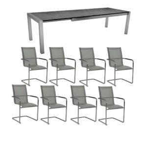 """Stern Gartenmöbel-Set mit 8x Freischwinger """"Evoee"""" und Ausziehtisch 214/254/294x100 cm, Edelstahl, Textilen Silber, HPL Zement"""