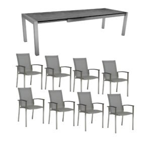 """Stern Gartenmöbel-Set mit 8x Stapelstuhl """"Evoee"""" und Ausziehtisch 214/254/294x100 cm, Edelstahl, Textilen Silber, HPL Zement"""