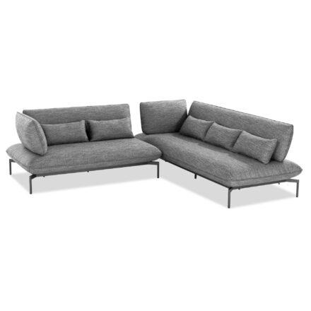 """Niehoff """"Valencia"""" 2- und 3-Sitzer Loungesofa links, Gestell Aluminium anthrazit, Polster Outdoor-Gewebe Horizon anthrazit"""