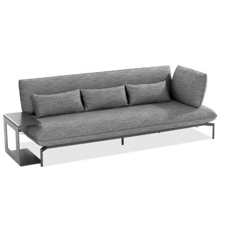 """Niehoff """"Valencia"""" 3-Sitzer Loungesofa rechts mit Beistelltisch, Gestell Aluminium anthrazit, Polster Outdoor-Gewebe Horizon anthrazit"""