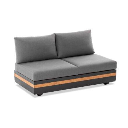 """Niehoff """"Volano"""" 2-Sitzer Sofa, Gestell Aluminium anthrazit mit Teakholz-Einlage, Polster Outdoor-Gewebe Canvas Heather anthrazit"""