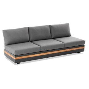 """Niehoff """"Volano"""" 3-Sitzer Sofa mit beidseitig 4-fach verstellbarem Seitenteil, Gestell Aluminium anthrazit mit Teakholz-Einlage, Polster Outdoor-Gewebe Canvas Heather anthrazit"""