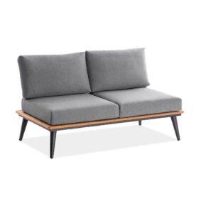 "Niehoff ""Serra"" 2-Sitzer Sofa, Gestell Aluminium anthrazit mit Teakholzrahmen, Polster Outdoor-Gewebe Canvas Heather anthrazit"