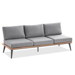 """Niehoff """"Serra"""" 3-Sitzer Sofa mit 4-fach verstellbarem Seitenteil, Gestell Aluminium anthrazit mit Teakholzrahmen, Polster Outdoor-Gewebe Canvas Heather anthrazit"""