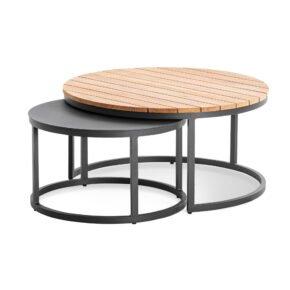 """Niehoff """"Serra"""" Loungetische, Aluminium anthrazit Ø 60 cm und Tischplatte Teakholz-Lamellen Ø 80 cm"""