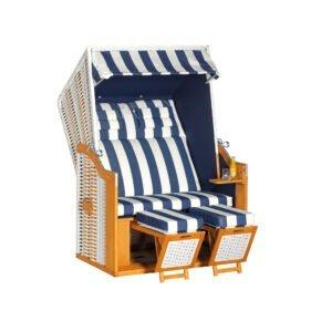 "SunnySmart Strandkorb ""34 Z"", Korpus Pinienholz teakfarben gebürstet, PVC-Geflecht Weiß, Stoff Dessin 1080"