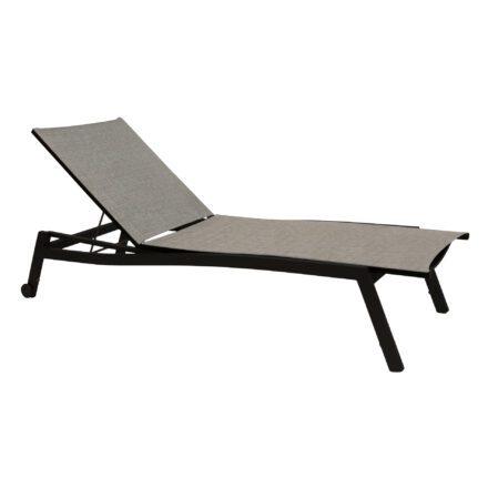 """Stern """"Allround"""" Sonnenliege, Gestell Aluminium schwarz matt, Liegefläche Textilgewebe Leinen grau"""