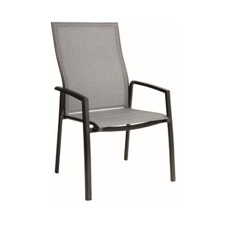 "Stern ""Kari+"" Stapelsessel, Gestell Aluminium anthrazit, Sitzfläche Textilgewebe silber"