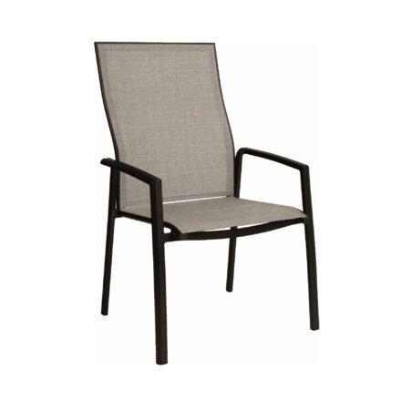 """Stern """"Kari+"""" Stapelsessel, Gestell Aluminium schwarz matt, Sitzfläche Textilgewebe Leinen grau"""