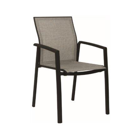 """Stern """"Kari"""" Stapelsessel, Gestell Aluminium schwarz matt, Sitzfläche Textilbespannung Leinen grau"""