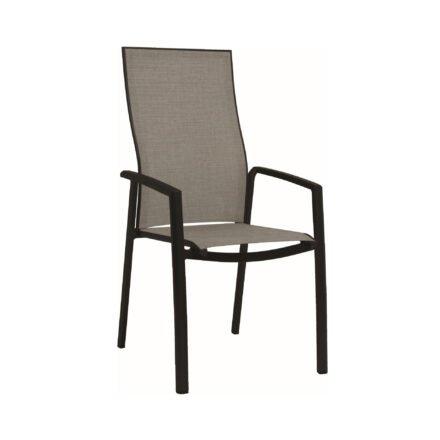 "Stern ""Kari"" Stapelsessel hoch, Gestell Aluminium schwarz, Sitzfläche Textilbespannung Leinen grau"